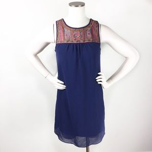 By & By Embroidered Navy Blue Sleeveless Dress M